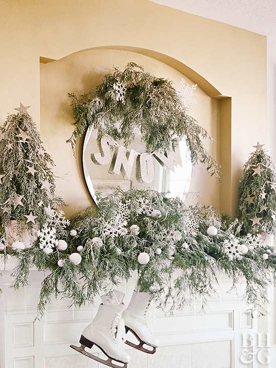 White Winter Wonderland on a Christmas Mantel