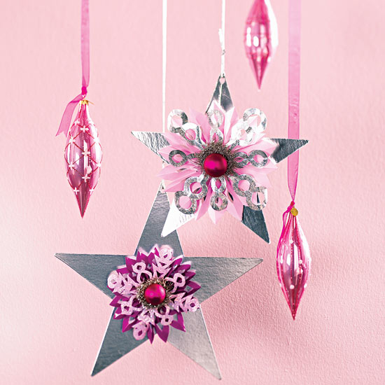 Christmas Star Ornaments with Snowflakes