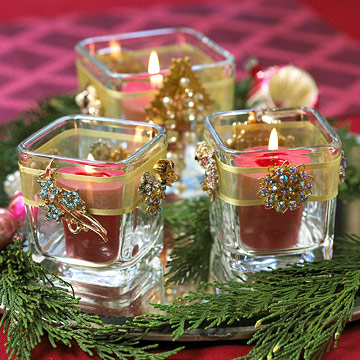 Rhinestone Embellished Votive Candle Holders for Christmas
