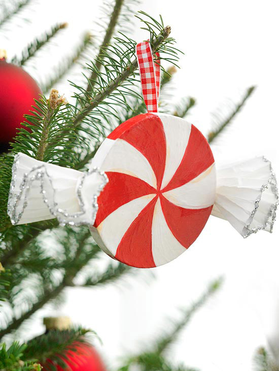 Christmas Tree Peppermint Swirl Ornament