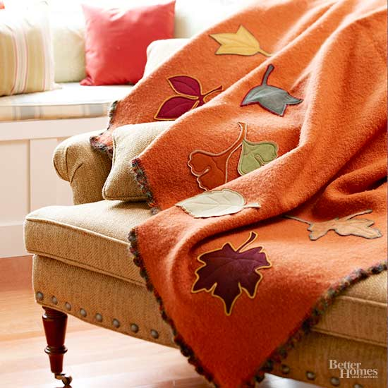 Fall Leaf Applique Blanket