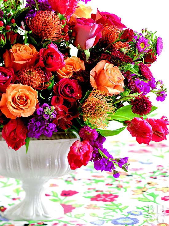 Pics Of Flower Arrangements one-color flower arrangements: 9 single-hue bouquets from bhg