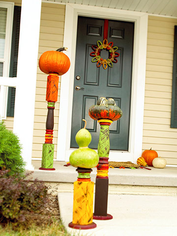 Painted Posts for Halloween Pumpkins
