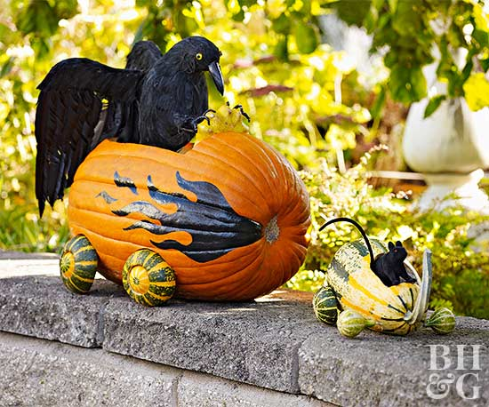 Make Halloween Cars out of Pumpkins & Gourds