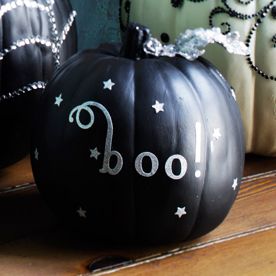 Black Halloween Pumpkin with Silver Decorations