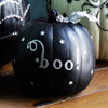 Black Pumpkin with Silver Lettering