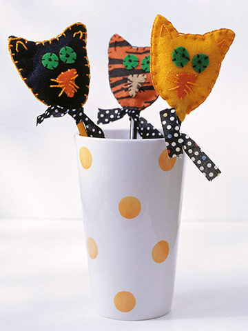 Felted Wool Cat Pencil Toppers for Halloween