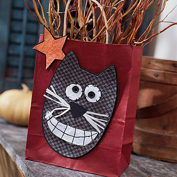 Cat-Face Gift Bag for Halloween