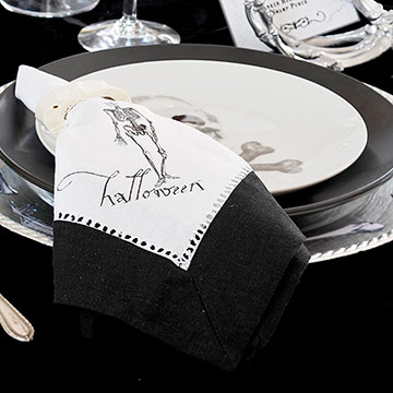 Black-and-White Halloween Cloth Napkins