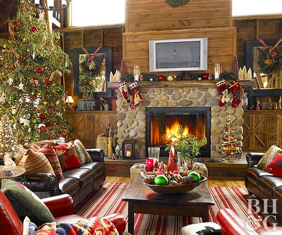 christmas fireplace mantel - How To Decorate A Fireplace Mantel For Christmas