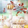 Centerpiece with White Dishes and Pumpkins