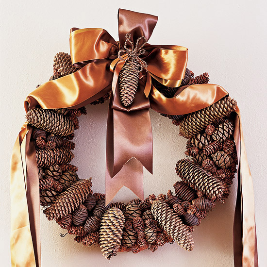 Ribbon Pinecone Wreath for Thanksgiving & Christmas