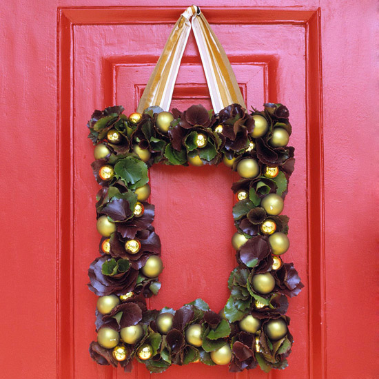 Square Wreath for Use from Thanksgiving Through Christmas