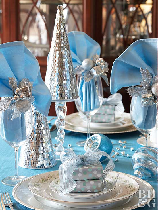 Sparkly Silver Blue Holiday Setting