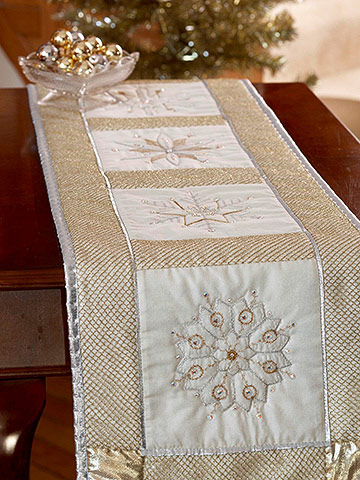 Sparkly Snowflake Table Runner for Christmas