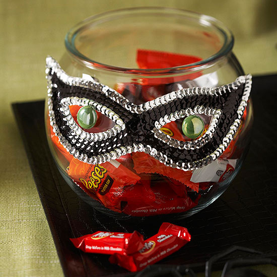 Sequined Mask Candy Jar Decoration