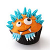 Orange-and-Blue Monster Cupcake