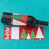 Red & Green Christmas Tree Wine Label