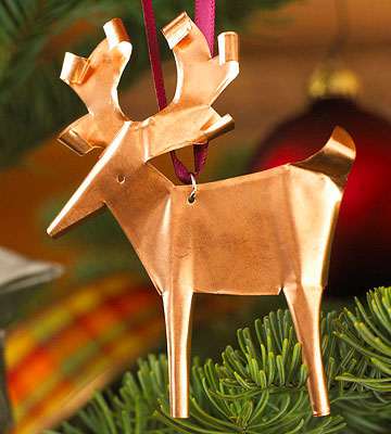 Copper Reindeer Christmas Ornament
