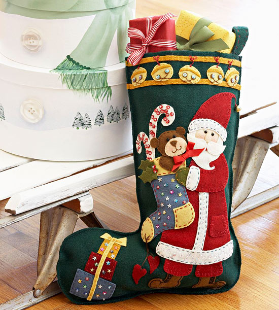 Colorful Santa Applique Christmas Stocking