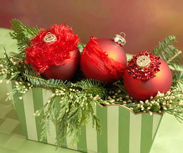 Make a Trio of Red Christmas Ornaments