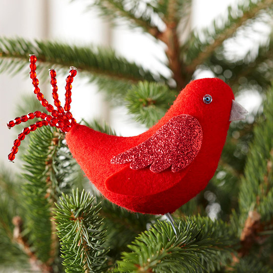 Red Bird Felt Ornament for Christmas