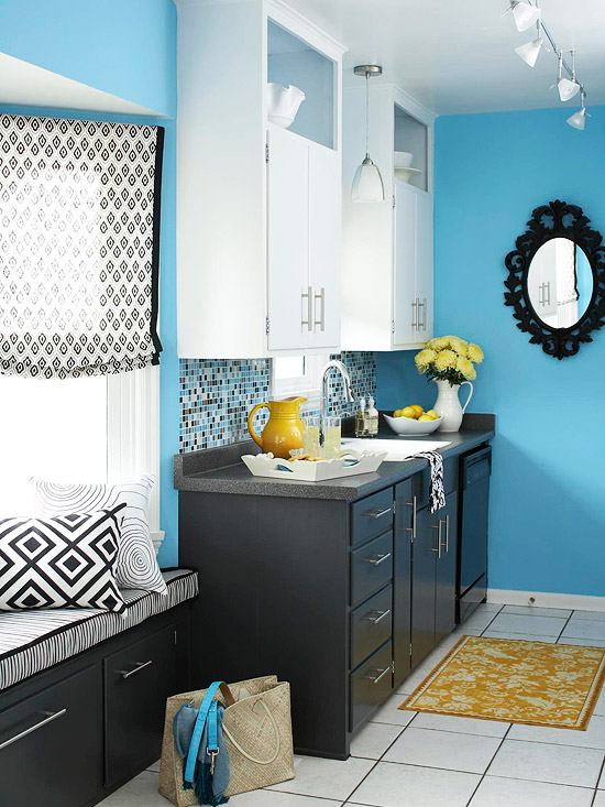 Blue kitchen design ideas for Black and teal bathroom ideas