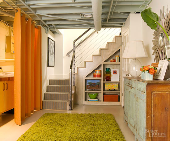 Unfinished Basement Playroom Ideas Gray Ceiling And Stained