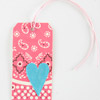 Pink Paisley Gift Tag with Blue Heart
