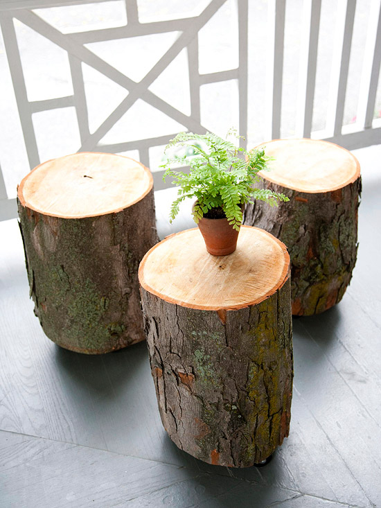 7 diy rustic decor ideas using natural wood - Tree trunk table decorations ...