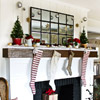 Christmas Mantel with Long Stockings