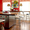 Eclectic Kitchen with Red Walls