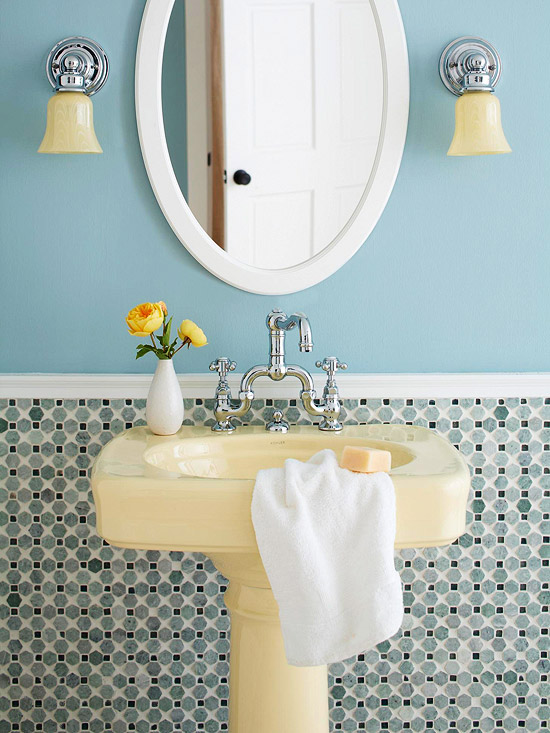 Blue and Ivory Bath