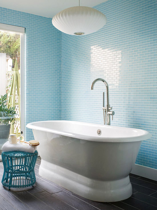 Blue bathroom design ideas for Blue tile bathroom ideas