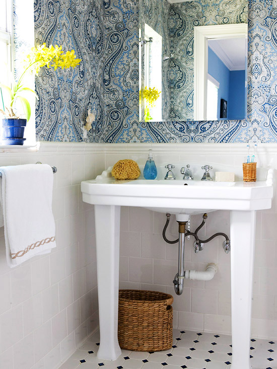 Blue Paisley Bath
