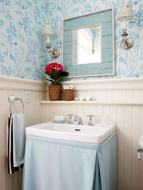 Blue-and-Cream Powder Room