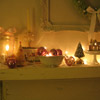Sage-and-Pink Christmas Mantel