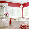 Red-and-White Cottage Bathroom