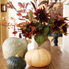 Centerpiece of Gourds and Red Sunflowers