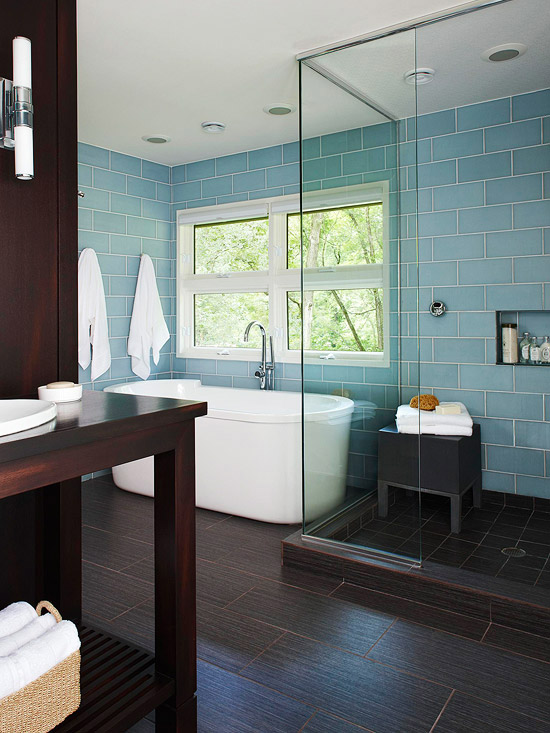 Remodeling Bathroom Tile Walls ways to use tile in your bathroom - better homes and gardens - bhg