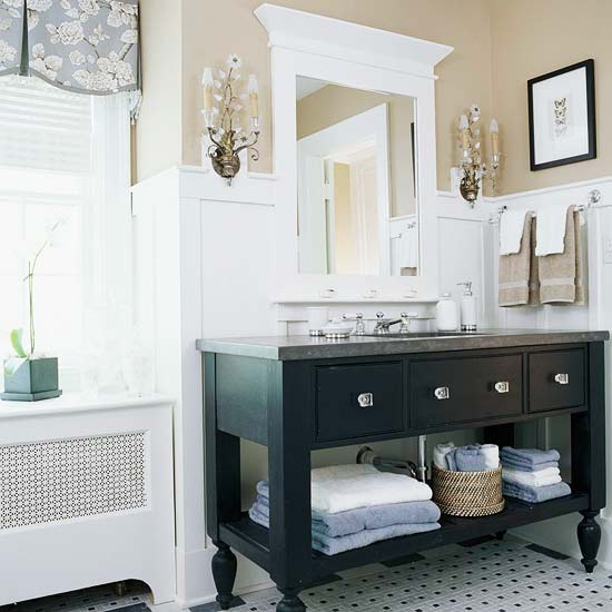 New Home Interior Design Open Vanity Bath Storage