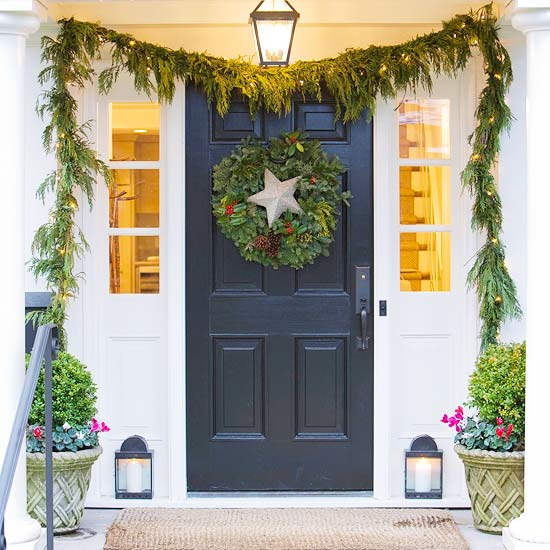 Add Shimmer and Sparkle to Christmas Door Decorations