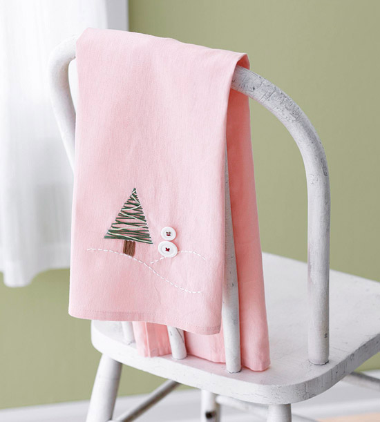 Embroider a Winter-Theme Tea Towel as a Christmas Gift