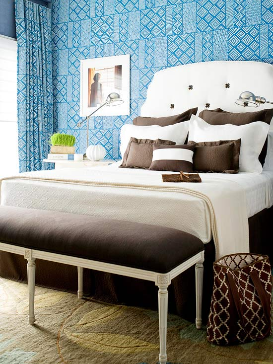 Bold Prints Blue Bedroom Decorating Ideas  Better Homes and Gardens BHG com