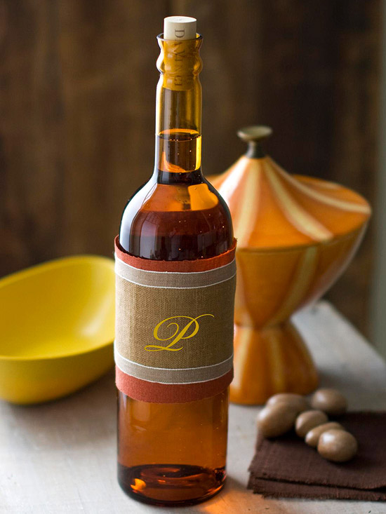 Monogrammed Fabric Wine Wrap
