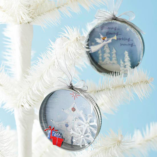 Canning Lid Christmas Card Ornaments