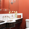 Brick-Red Powder Room