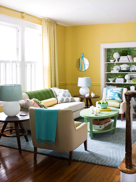 Decorating ideas for a yellow living room better homes for Home decor yellow walls
