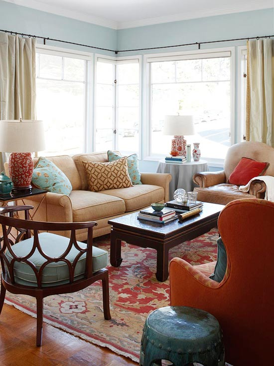 Living Room Red Rug design ideas for a red living room -- better homes and gardens