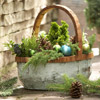 Winter Greenery Basket with Ornaments